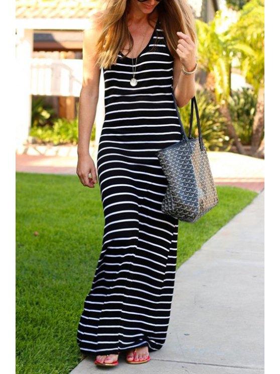 women Black Sleeveless Striped Maxi Dress - STRIPE S