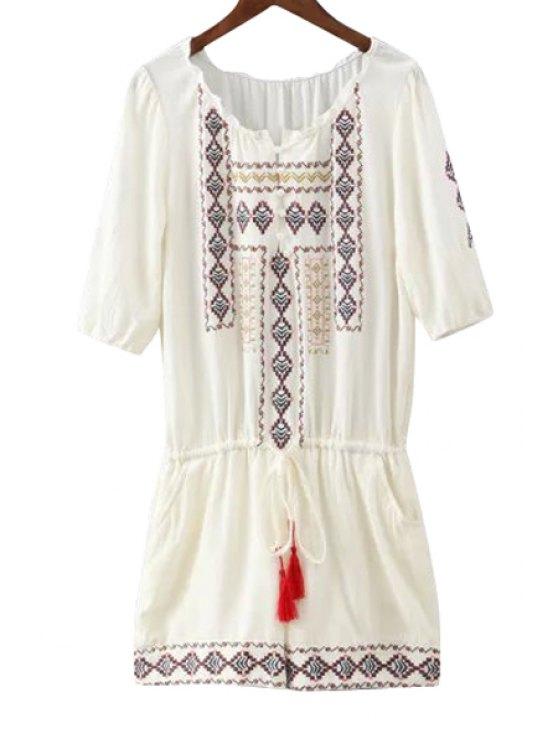 best Argyle Embroidery Tie-Up Half Sleeve Romper - WHITE S
