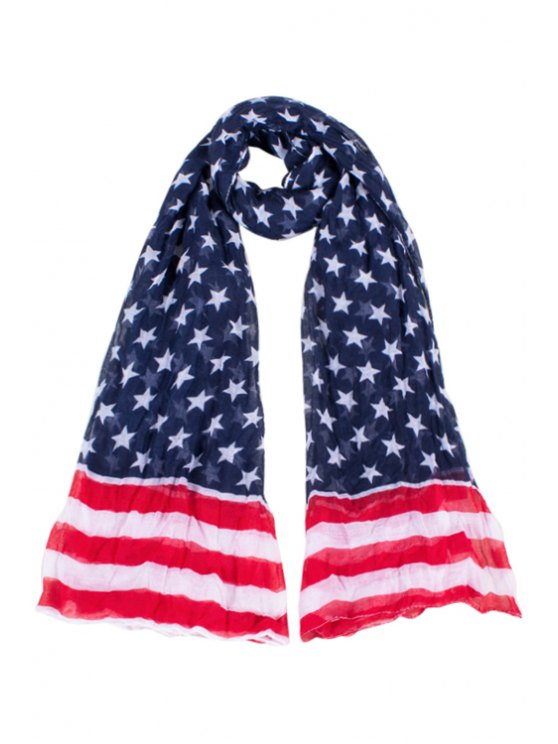 fashion Various Stars and Stripes Print Scarf - CADETBLUE