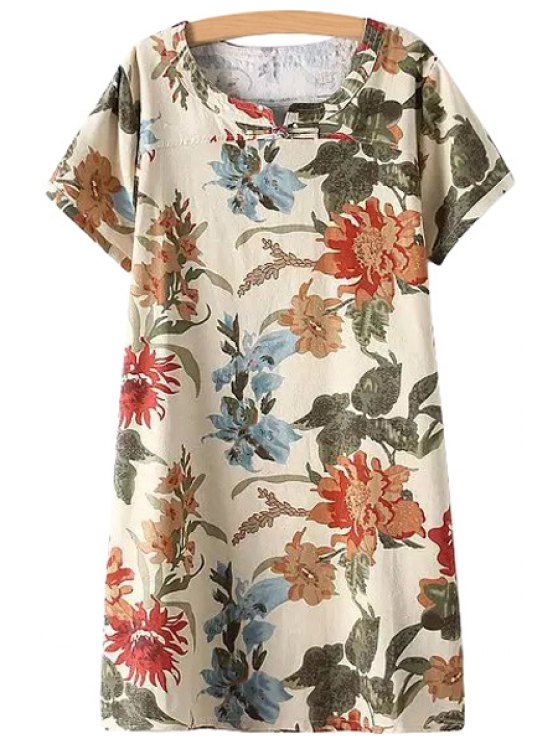 lady Yellow Floral Print Short Sleeve Dress - BEIGE L
