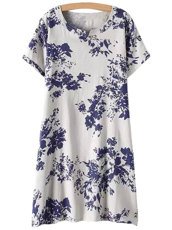 new Jewel Neck Blue Floral Print Dress - WHITE L