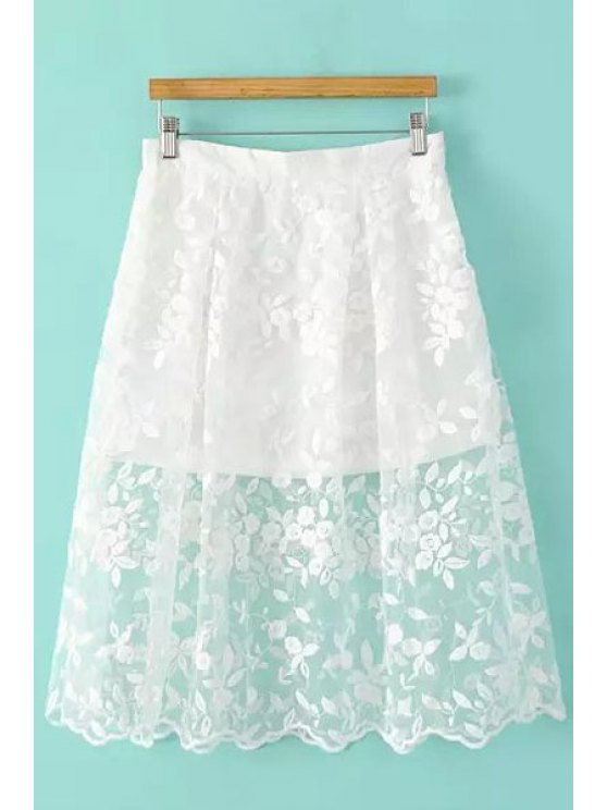 Floral Pattern Embroidery Skirt - WHITE S Mobile