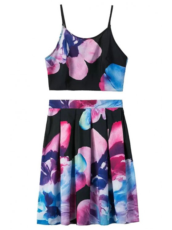 ladies Spaghetti Strap Floral Print Tank Top + Pleated Skirt - COLORMIX S