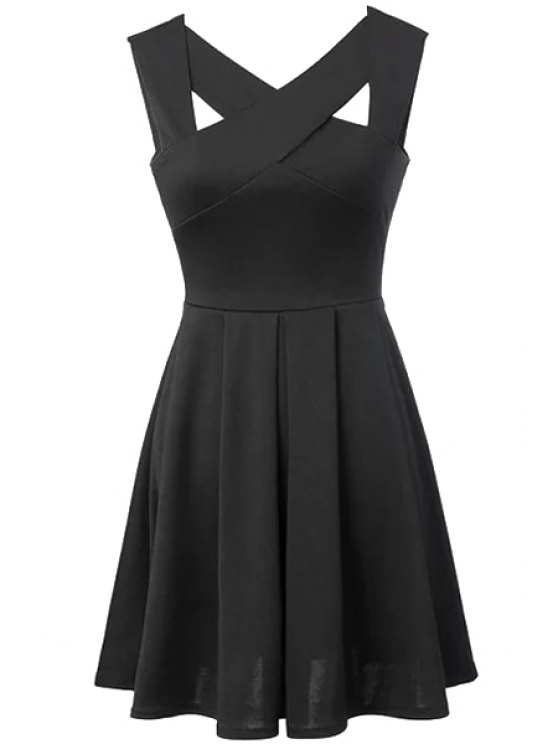 affordable Solid Color Sleeveless V-Neck A-Line Dress - BLACK M