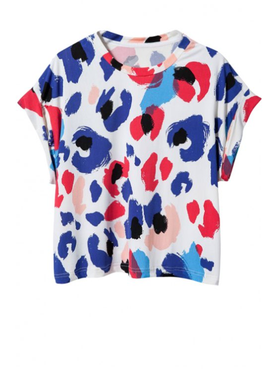 lady Short Sleeve Leopard Print T-Shirt - PURPLE S