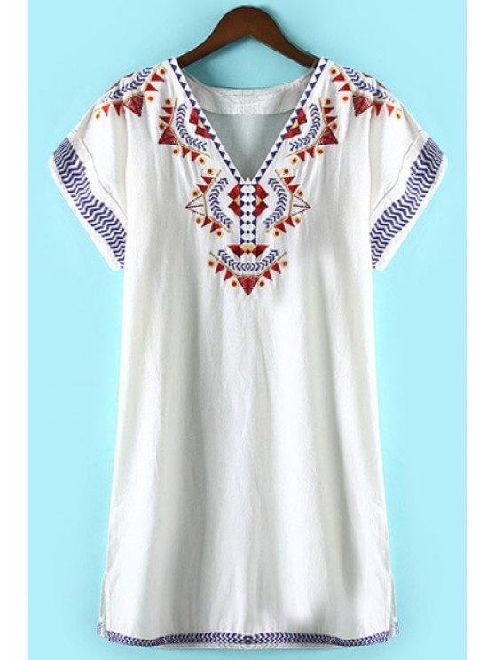 latest Geometric Pattern Embroidery Dress - WHITE S