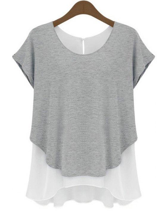 outfits Chiffon Spliced Short Sleeve T-Shirt - GRAY S