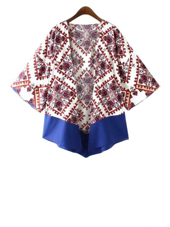 women Color Block Print Long Sleeve Kimono - WHITE S