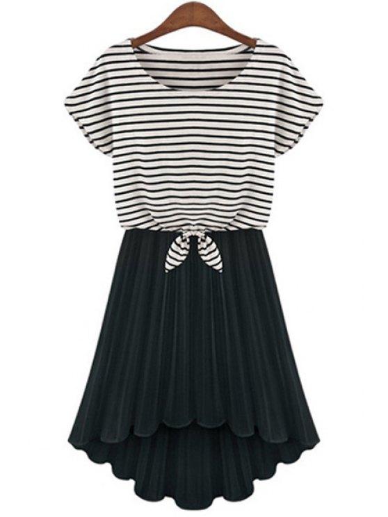 ladies Stripe Short Sleeve T-Shirt and Pleated Dress Twinset - BLACK S