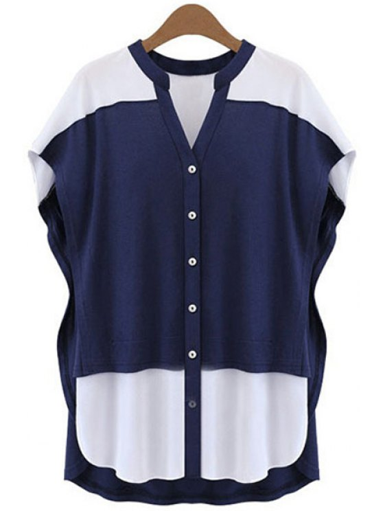 shops Color Block V-Neck Blouse - BLUE AND WHITE XL