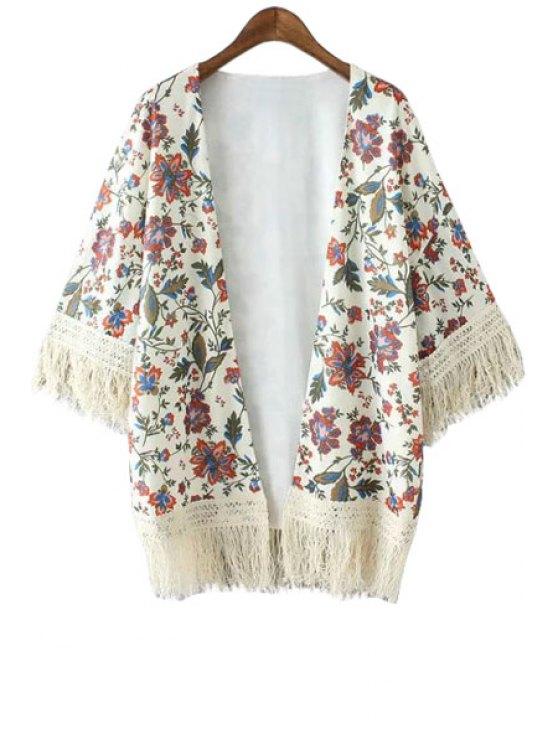 online Floral Print Tassel Splicing Long Sleeve Kimono - WHITE S