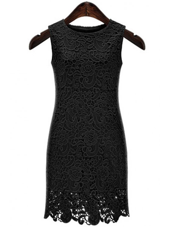 women's Lace Embroidery Solid Color Sundress - BLACK S