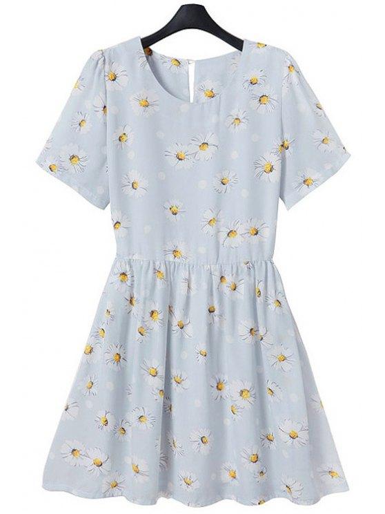 new Full Flower Print Short Sleeve Flare Dress - LIGHT BLUE M