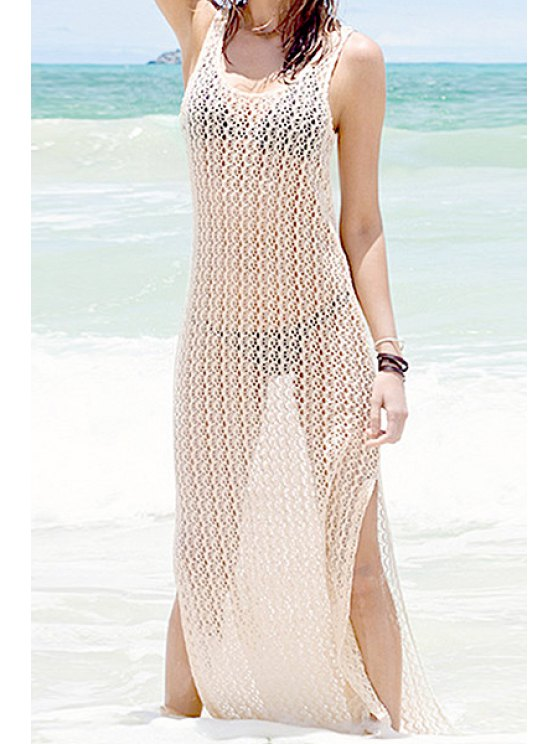 outfits Solid Color Openwork Side Slit Maxi Cover-Up - OFF-WHITE S