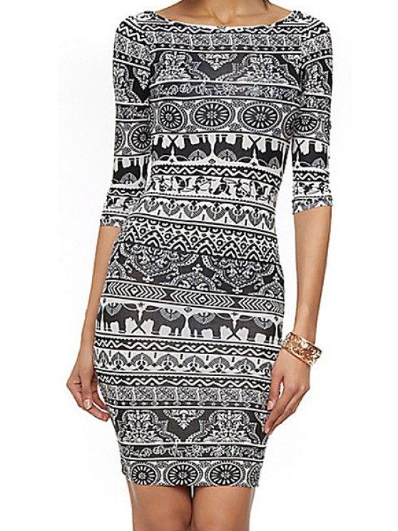 shops Elephant Print Half Sleeve Dress - WHITE AND BLACK L