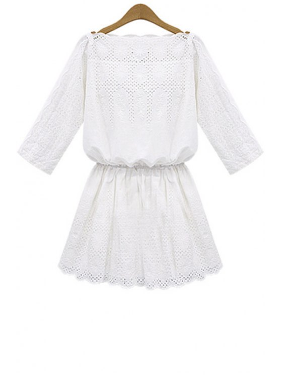 unique White Hollow 3/4 Sleeve Dress - WHITE S