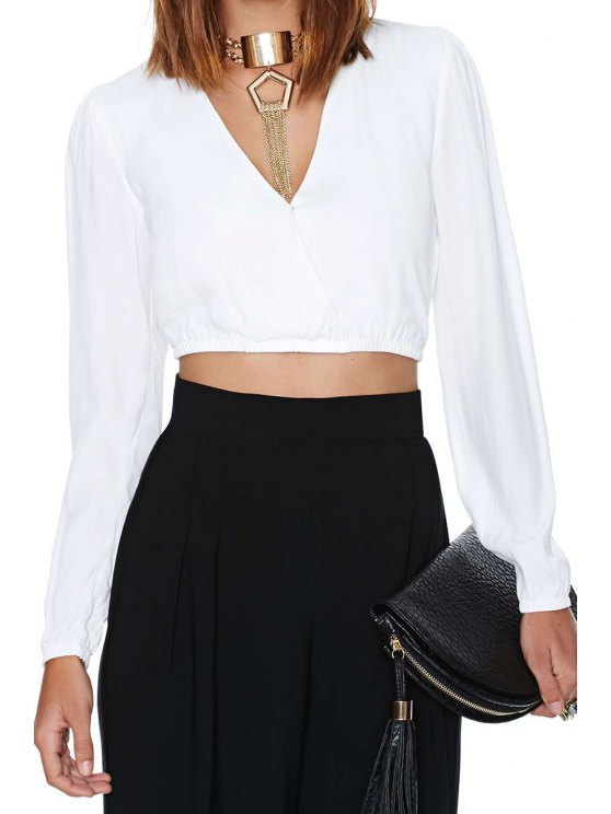 fashion White V-Neck Long Sleeve Crop Top - WHITE S