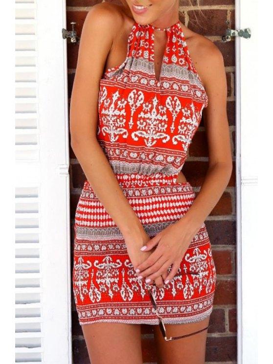 trendy Spaghetti Strap Tie-Up Geometric Print Openwork Dress - RED S