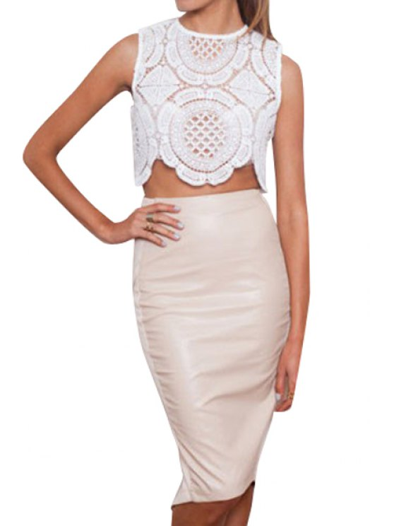 latest Solid Color Openwork Asymmetrical Sleeveless Tank Top - WHITE S