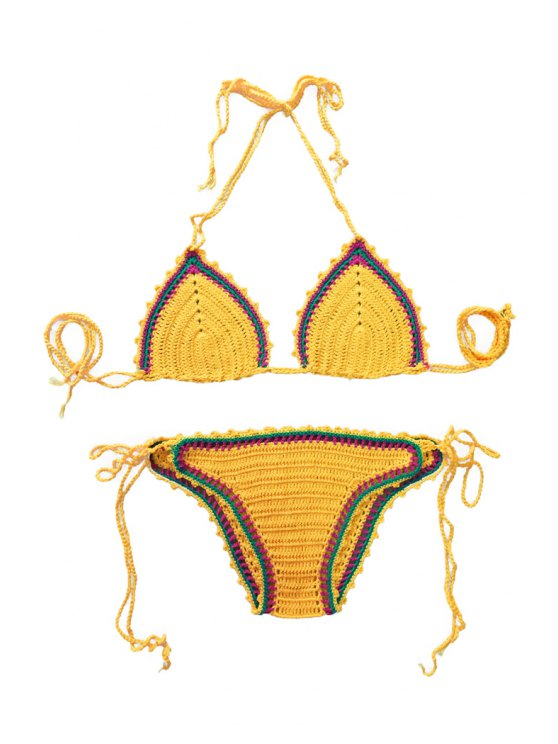 Color Block Tie-Up Knit Bikini Set - YOLK YELLOW ONE SIZE(FIT SIZE XS TO M) Mobile