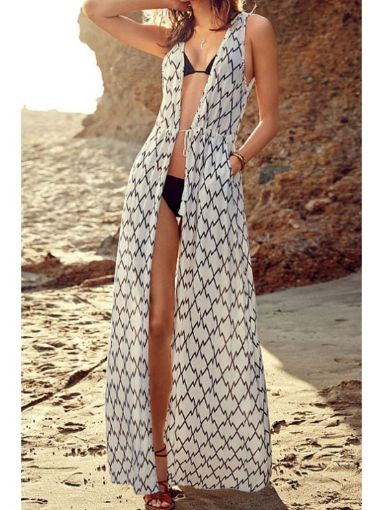 fashion Tie-Up Plaid Sleeveless Maxi Cover-Up - WHITE ONE SIZE(FIT SIZE XS TO M)