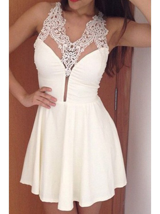fancy Lace Splicing See-Through Sleeveless Dress - WHITE M