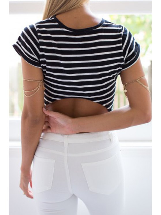 shop Stripe Backless Short Sleeve T-Shirt - STRIPE S