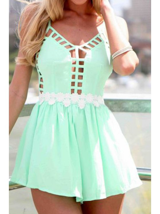 fashion Hollow Backless Spaghetti Straps Romper - GREEN S