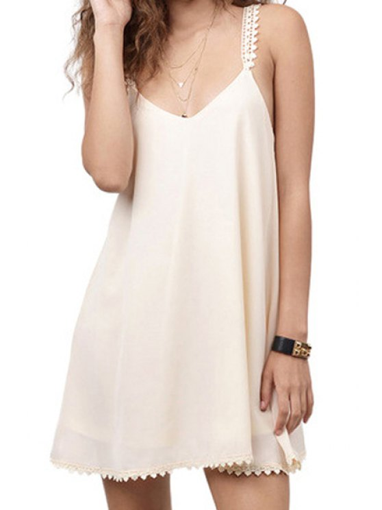 buy White Spaghetti Strap A-Line Dress - WHITE S