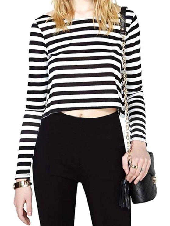 sale Stripe Long Sleeve Crop Top - STRIPE M