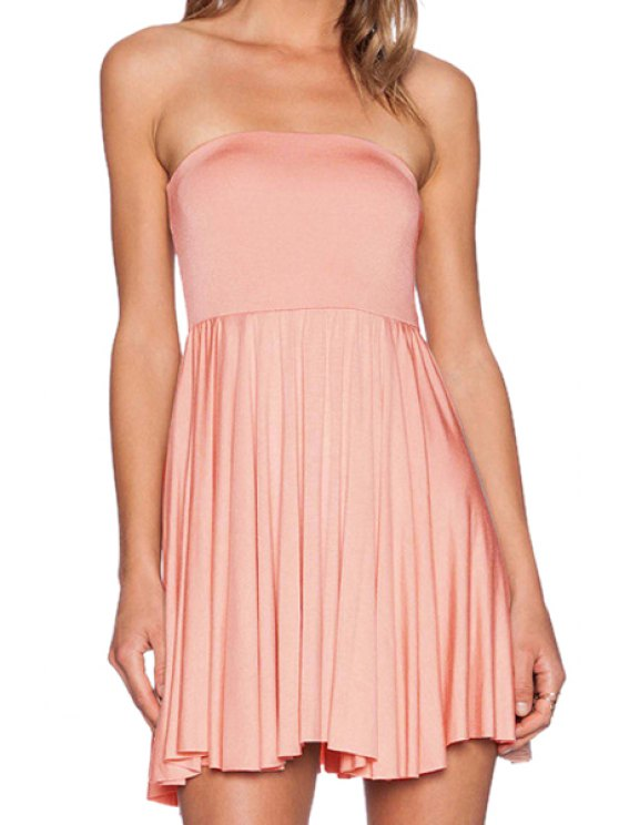 shop Solid Color Strapless Flare Dress - SHALLOW PINK XS