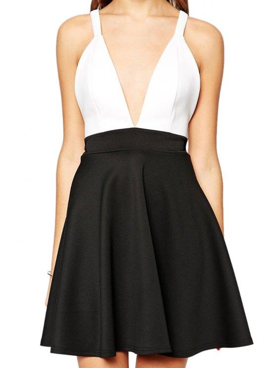 unique Plunging Neck Backless Cross Color Block Dress - BLACK S