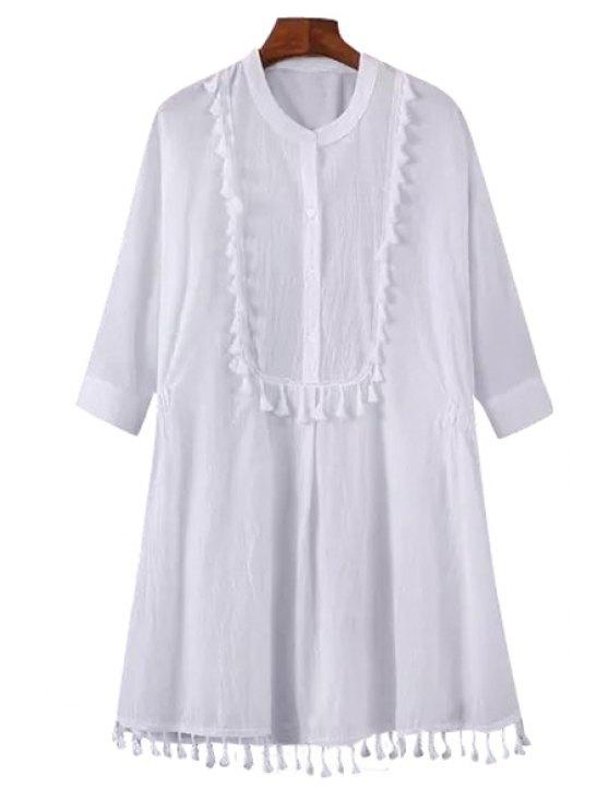 latest Solid Color Tassel Splicing Half Sleeve Shirt Dress - WHITE S