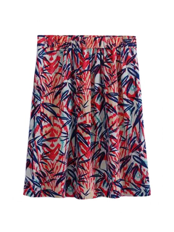 best Leaves Print Two Pockets Skirt - RED S