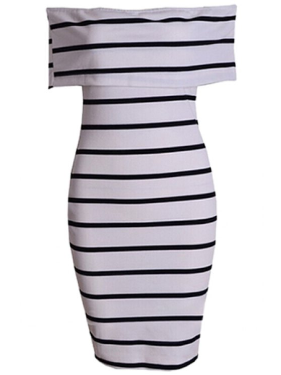 new Stripe Slash Neck Bodycon Dress - STRIPE S