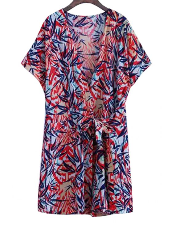 affordable Leaves Print Tie-Up Short Sleeve Romper - COLORMIX S