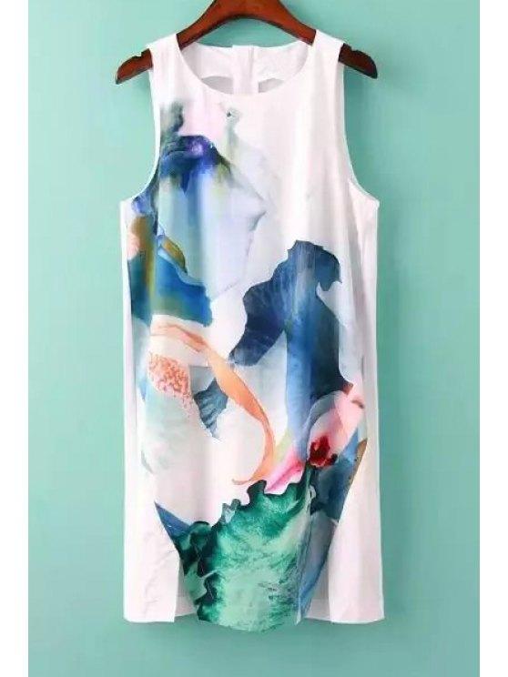 fashion Color Block Ink Print Slit Sleeveless Dress - WHITE S