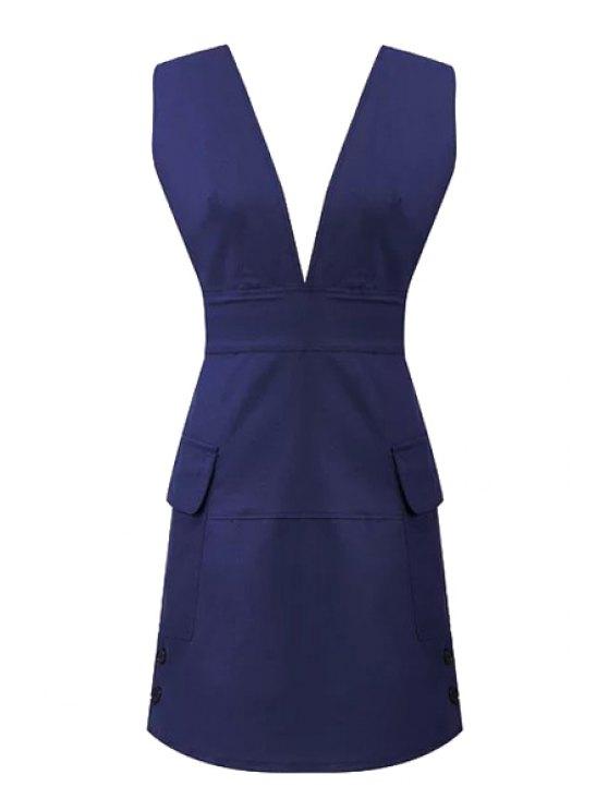ladies Plunging Neck Solid Color Backless Pockets Dress - PURPLISH BLUE S