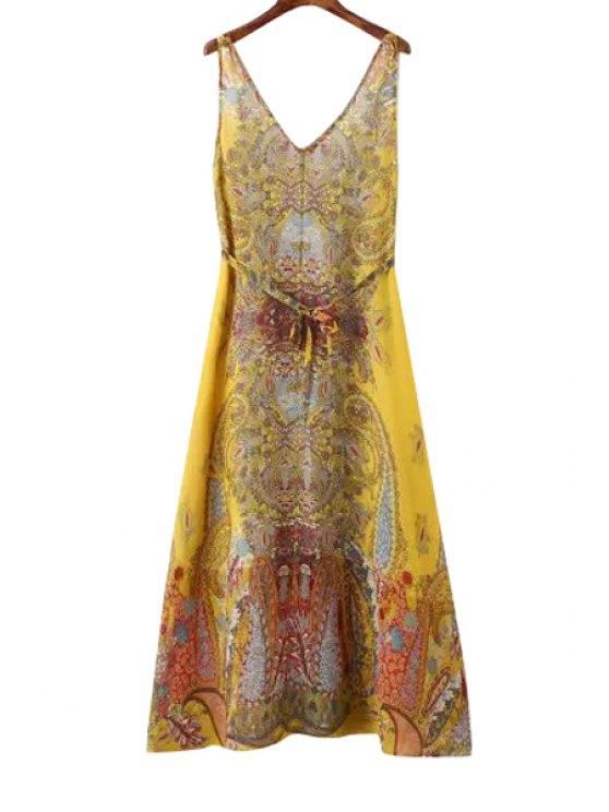 hot V-Neck Paisley Print Tie-Up Maxi Dress - COLORMIX S