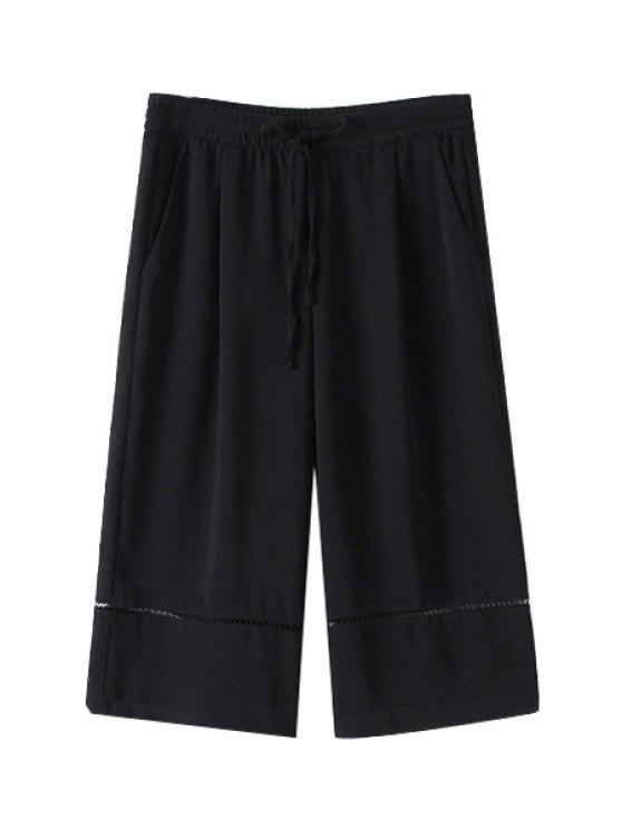 affordable Solid Color Openwork Tie-Up Capri Pants - BLACK S