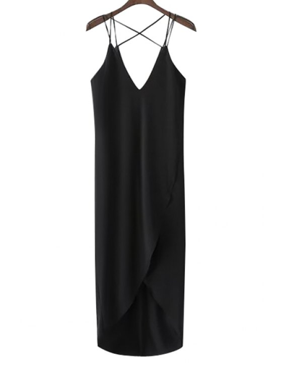 women's Spaghetti Strap Cross Solid Color Asymmetrical Maxi Dress - BLACK S