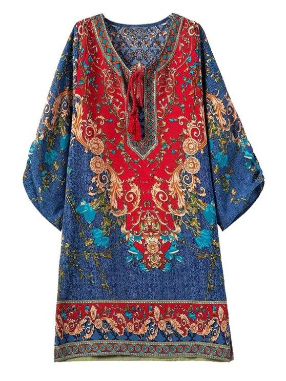 fashion Tie-Up Color Block Floral Print 3/4 Sleeve Dress - COLORMIX S