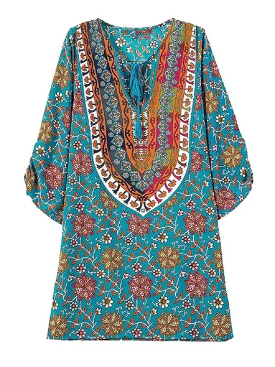 affordable Tie-Up Floral Print Color Block 3/4 Sleeve Dress - BLUE S