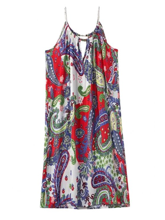 online Spaghetti Strap Paisley Print Color Block Dress - COLORMIX ONE SIZE(FIT SIZE XS TO M)