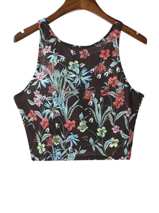 best Floral Print Crop Top - BLACK M