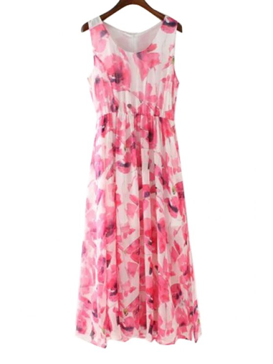 new Floral Print Back Zipper Sleeveless Maxi Dress - RED S