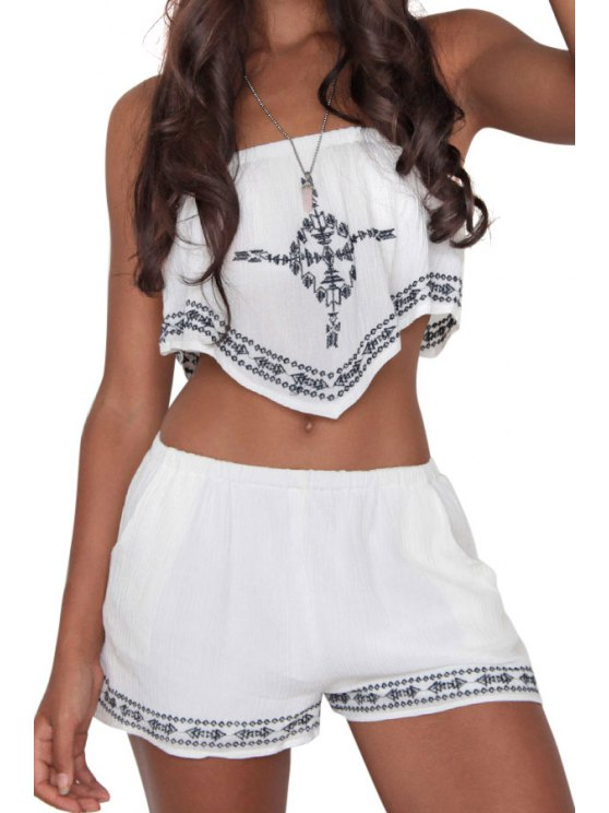 shop Strapless Crop Top and Embroidery Shorts Suit - WHITE S