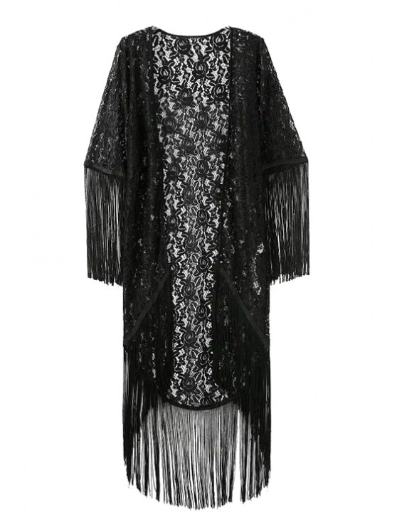fancy Solid Color Fringe See-Through Half Sleeve Kimono - BLACK M