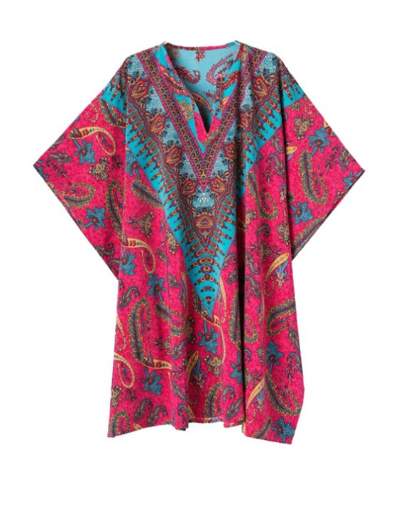 trendy Color Block Paisley Print Half Sleeve Dress - RED S