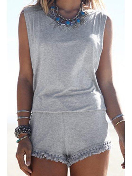 new Gray Backless Sleeveless Romper - GRAY L
